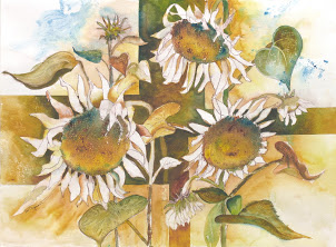"""Sunflowers""                                                  Prints Available A happy painting and lots of fun to create at a Karlyn Holman workshop in Washburn, Wisconsin. Much fun, much learned, and this painting which has been very popular."