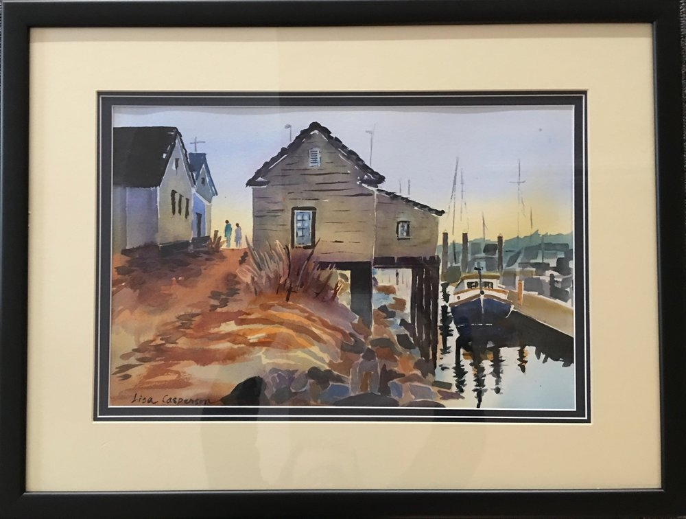 """Cottage on the Sea""                                      19"" x 23""                                                                $ 175  Looks like fun to live here, doesn't it?  There was a house built on stilts up the creek from house I grew up in. It was outrageously modern when built. Sadly, it is no longer being lovingly cared for and ihe people who now live there are allowing it to fall into total disrepair."