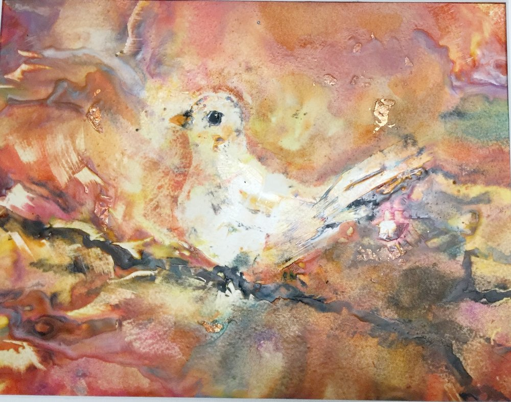 """ Dream Bird""                                                                Prints available  My first attempt at encaustic painting. My 18-year old granddaughter who learned it in a high school art class taught me. Weird and fun!"