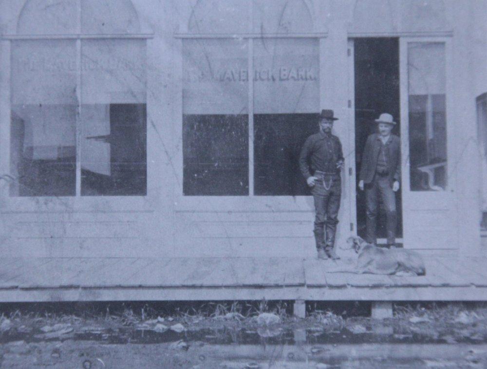Doc and associate outside The Maverick Bank in Gordon, NE
