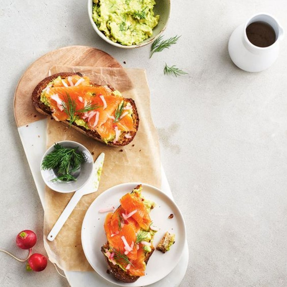 4. Avocado Toast with Smoked Salmon and Pickled Radish - by Canadian Living