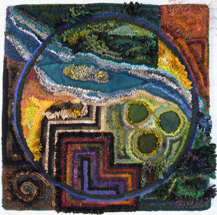 "Through the Window   2010, #4 in Fly Over Land Series, 20"" x20"". Mixed fibers and techniques on Monk's cloth."