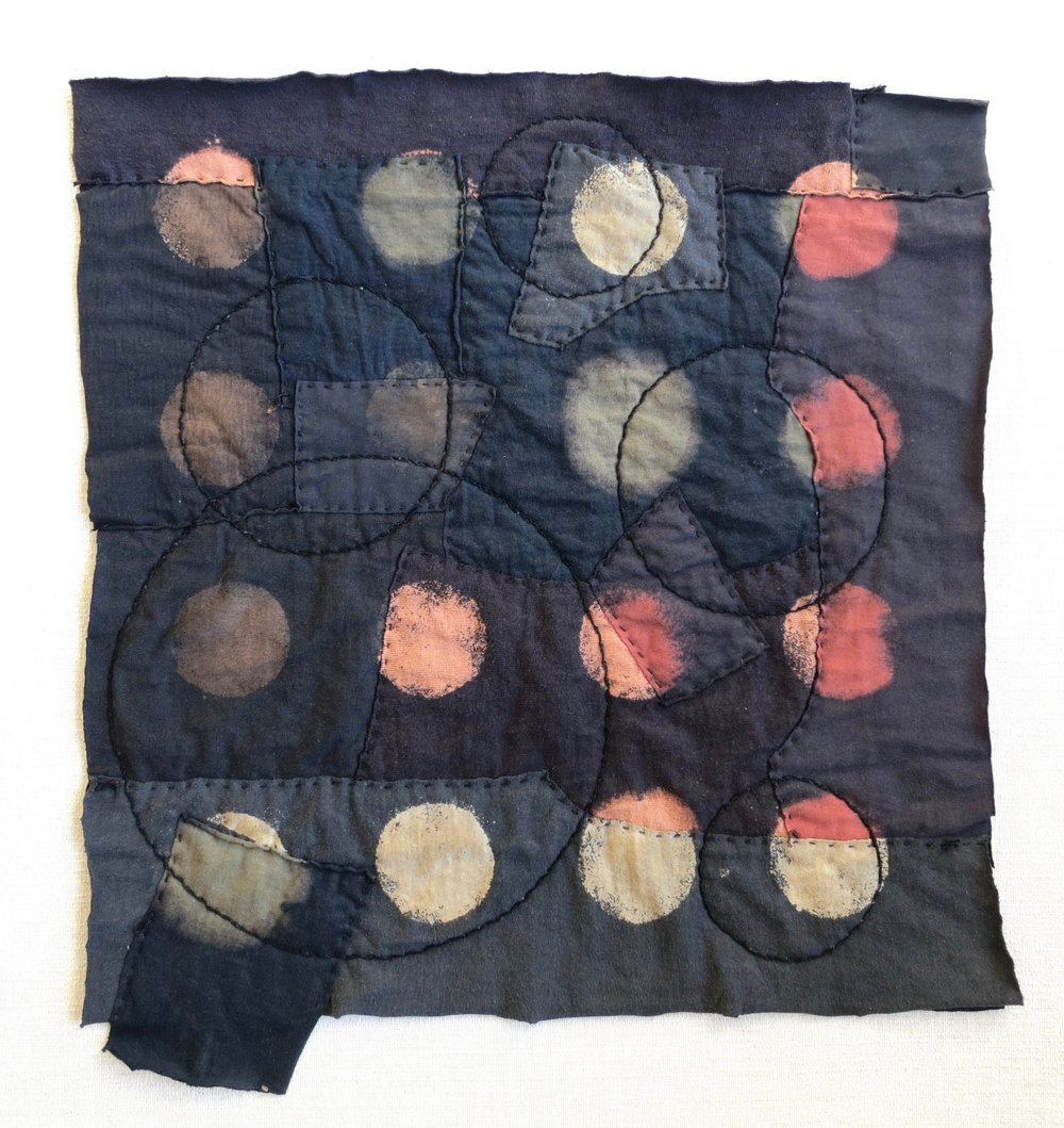 "Black T Boro: Circles   20"" x 20"" Cotton t-shirts collaged, hand sewn and color manipulated."