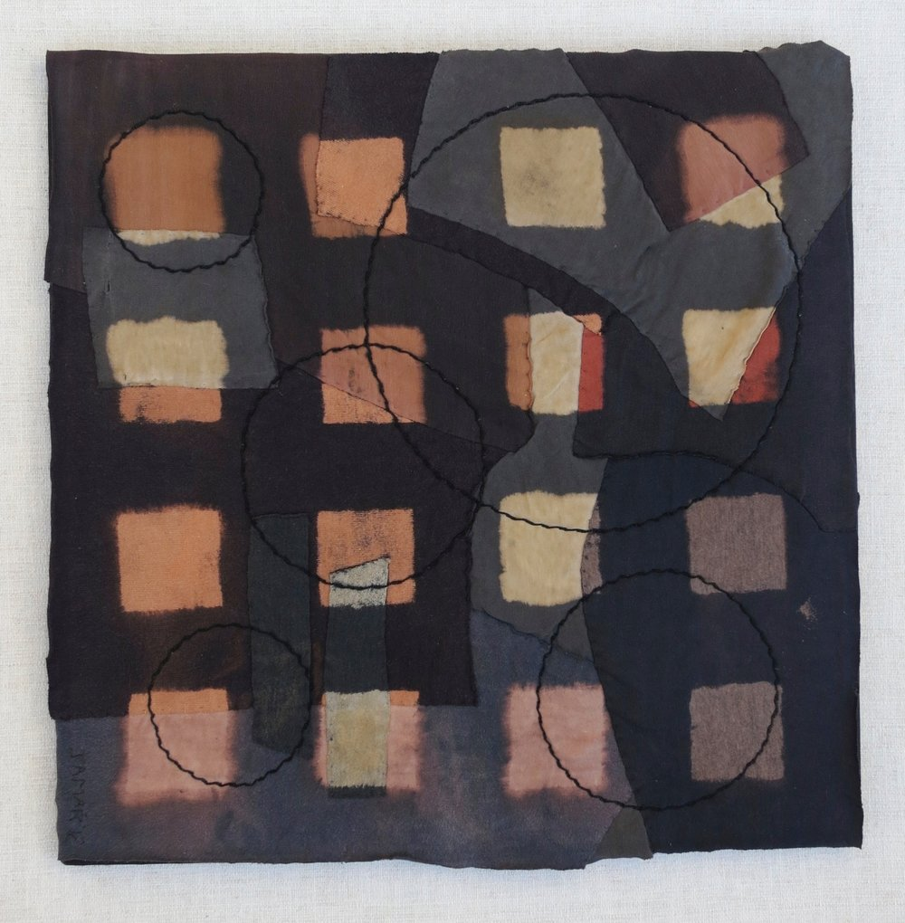 "Black T Boro: Squares    20"" x 20"" Cotton t-shirts collaged, hand sewn and color manipulated."