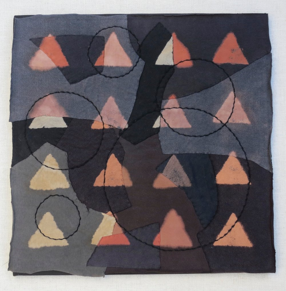 "Black T Boro: Triangles    20"" x 20"" Cotton t-shirts collaged, hand sewn and color manipulated."