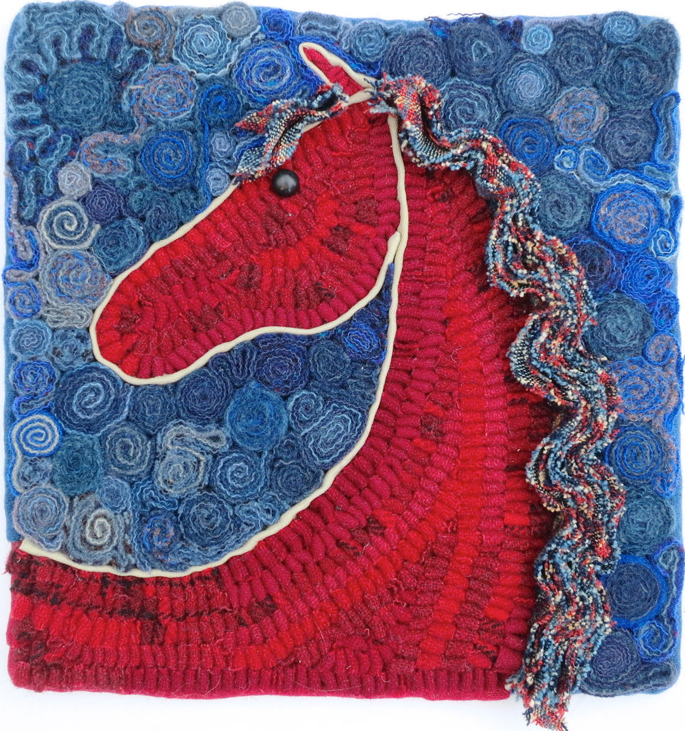 "On Alert  Horse 2015 8"" x 8"" Wool, shoe button hand sewn and hand hooked on Monk's cloth using bias shirring, coiling and standing wool. Pattern included in Coils, Folds, Twists and Turns: Contemporary Techniques in Fiber, see Books."