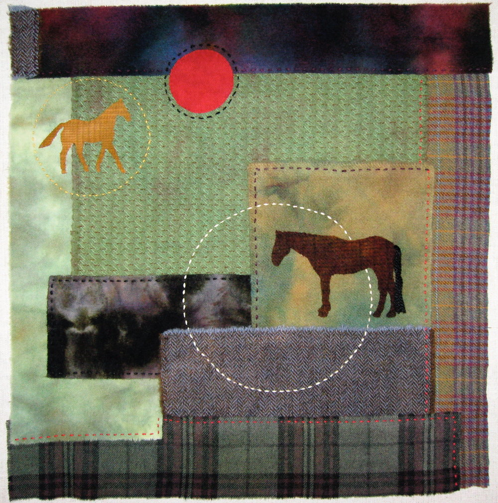 "Waiting    2009 21"" x 21"" Wool with rayon and filament thread hand sewn..  A salute to my departed horse, Arrow, and my aging horse, Fifty/50."