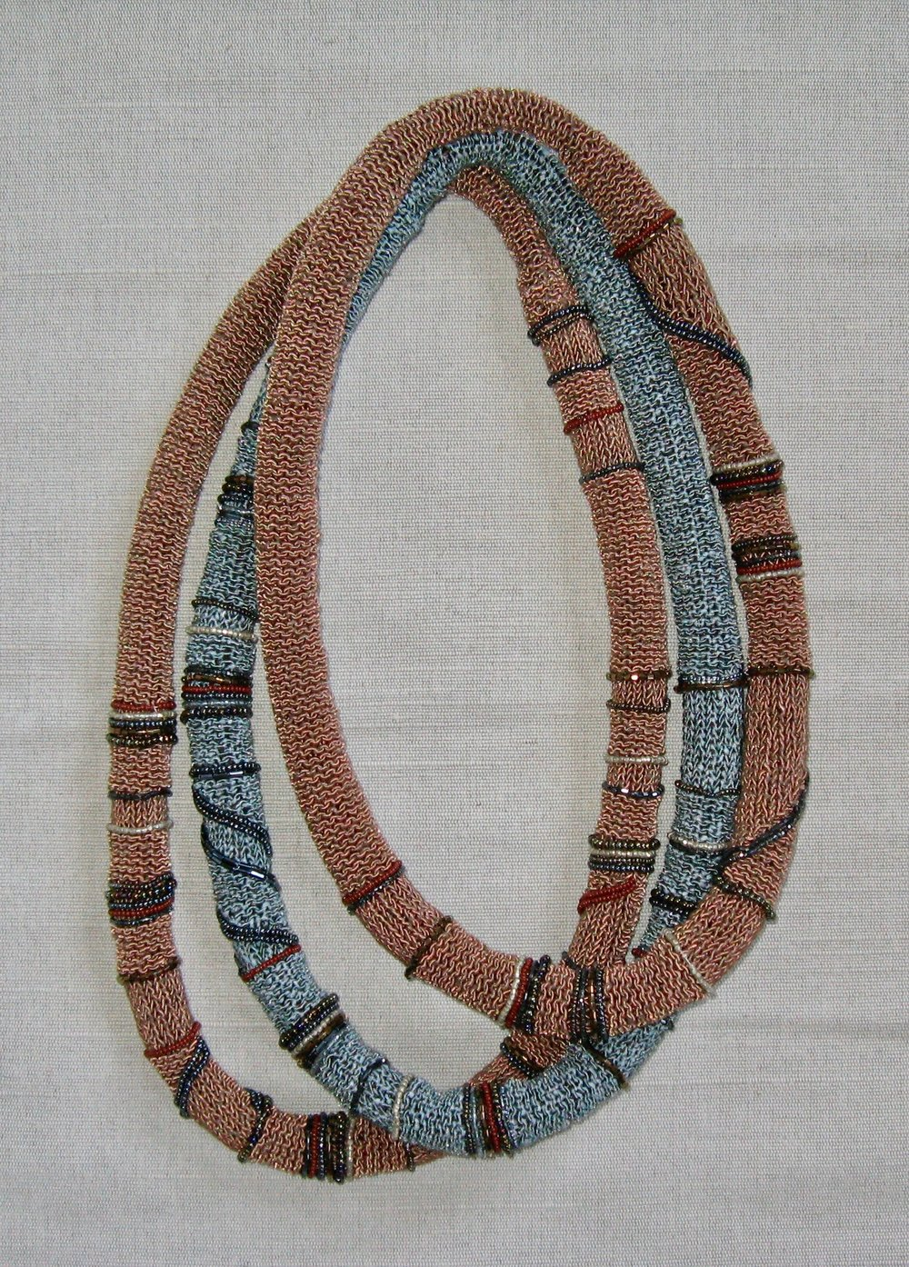 "Knit and Beaded Necklaces  2010 Approximately 28""to 30"" Rayon yarn and glass beads hand knit."