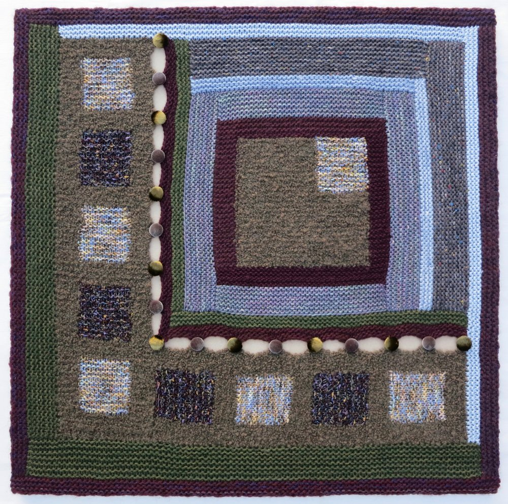 "Buttoned Up    2014 30"" x 30"" Wool and novelty yarn handknit, fabric covered buttons sewn. Stretcher mounted."