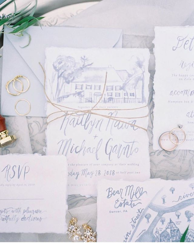 Lovely shot by @hillarymuelleck of the custom wedding invites we did for Katie + Michael last year! 💘