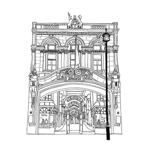 Lil sketch of #burlingtonarcade #illustration • • • • #drawing #sketch #illustrator #architecture #architecturaldrawing #blackandwhite #ink #art #artist #artwork #sketchbook #draw #london #portfolio #shopping