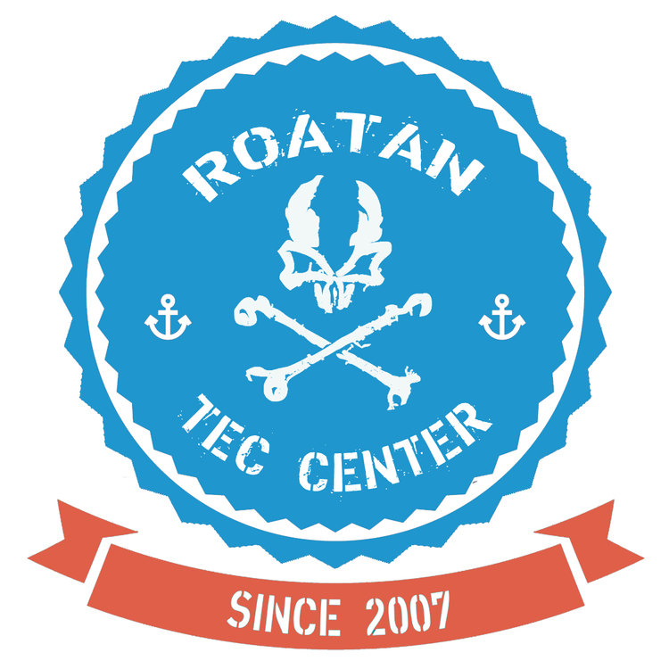 roatan tec center, roatan, honduras with coconut tree divers in west end