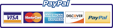 pay with visa, mastercard, american express, discover, and paypal
