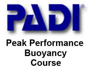 a PADI peak performance bouyancy logo