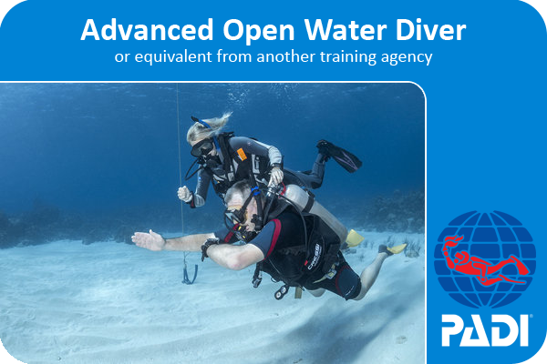 PADI advanced open water certification card with coconut tree divers in west end, 2 divers doing navigation on a sandpatch.