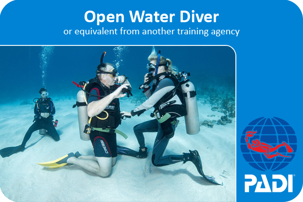 PADI advanced open water course certification card, with two coconut tree divers on a sandpatch at the dive site lighthouse.