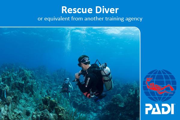padi scuba diving course, rescue diver, coconut tree divers shop front.