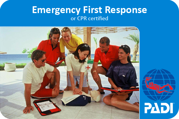 PADI scuba diving emergency first response certification card.