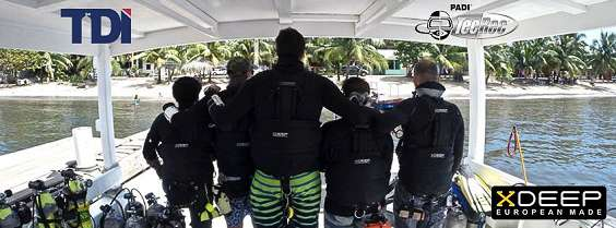 5 roatan tec center employees on Coconut tree divers large big covered boat Bottom Time in an xdeep sidemount gear configuration.