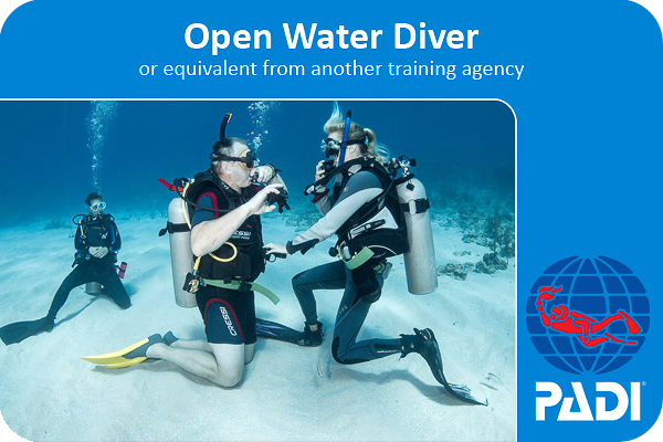 PADI open water certification card that you can earn at coconut tree divers whilst learning to scuba dive.