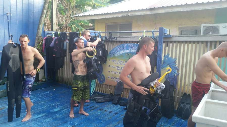 coconut tree divers divemaster interns working at scuba diving in west end, putting scuba dive gear away
