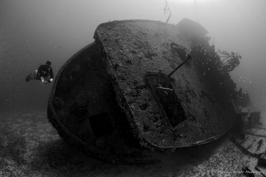 The shipwreck El Aguila in Roatan, Honduras while deep diving with coconut tree divers in west end.