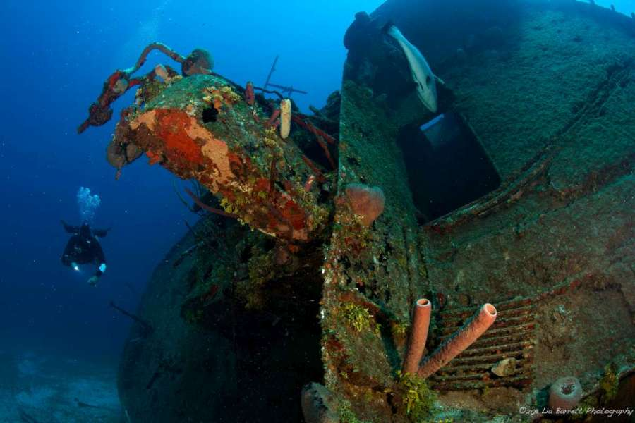 a shipwreck in Roatan, Honduras in the caribbean sea with a sidemount diver along side it.