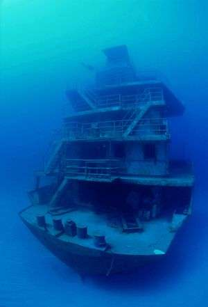 "The shipwreck of the ""Odyessy"" in Roatan Honduras."