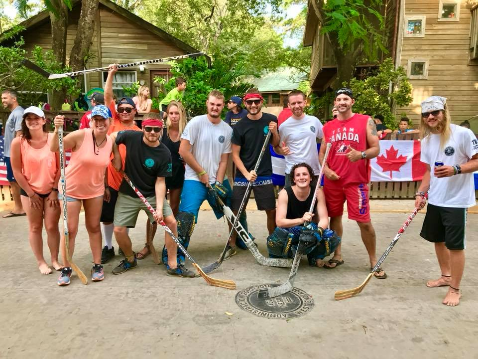 Here is just a couple of photo's of our trainees up to shenanigans. Hockey tournament for the Sol Foundation (above). Dakota pressure washing the deck-she volunteered-(left). Marine Park Birthday Fundraiser (bottom left) Phil and Mil came to do their DM as a part of their Uni courses, genius (below)