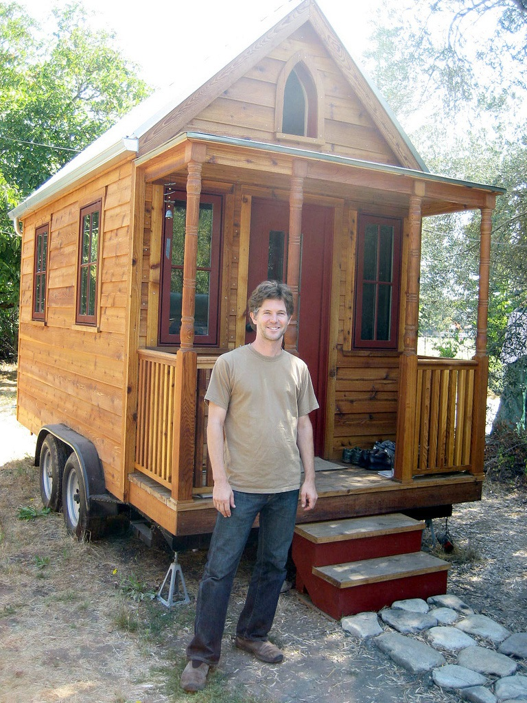 Jay Shafer is thought to have started the modern Tiny House Movement when he built the house in the background. Photo: Todd Lappin , Creative Commons, some rights reserved.
