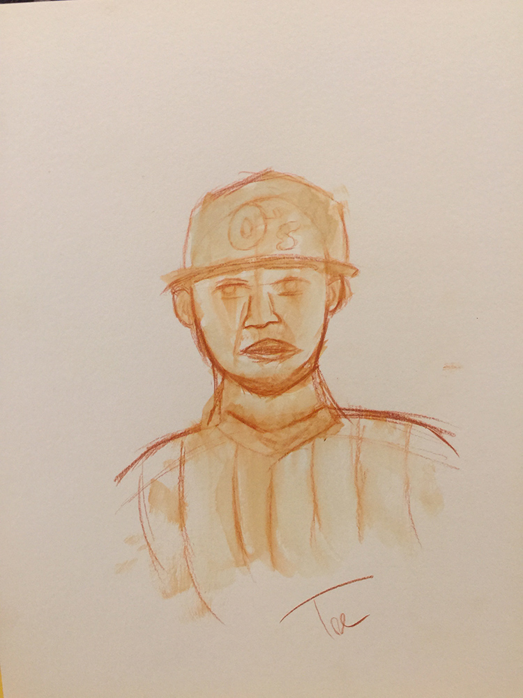 A portrait of baseball star Manny Machado using watercolor pencil.