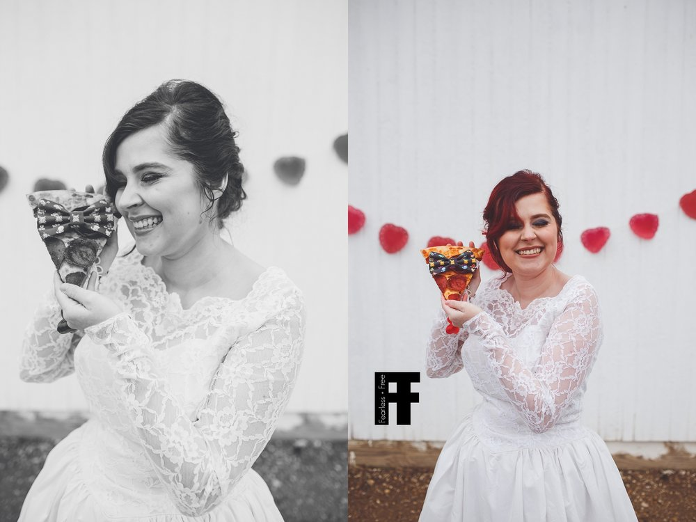 fearlessfreeseniors-columbus-ohio-senior-photographer-pizza-bride-girl-marries-pizza-wearing-bowtie-cheesy-smile