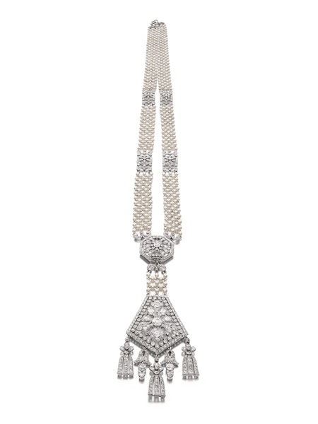 Belle Époque Diamond and Pearl Sautoir by Cartier, 1907
