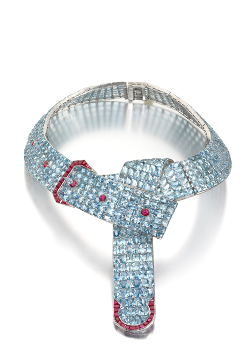 The Cole Porter Necklace: An Aquamarine and Ruby Belt with a Buckle Necklace Designed by Fulco, Duke of Verdura, for Paul Flato, New York, circa 1935