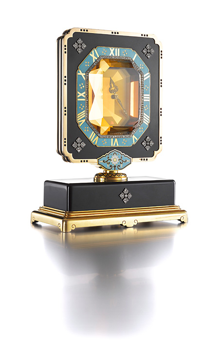 Art Deco Citrine, Ebonite, Diamond, and Enamel Mystery Clock by Maurice Coüet for Cartier, Paris, circa 1920, Movement by European Watch & Clock Company