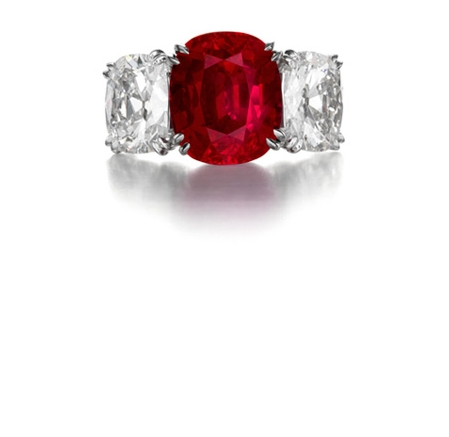 Burmese Ruby and Diamond Ring by Siegelson, New York