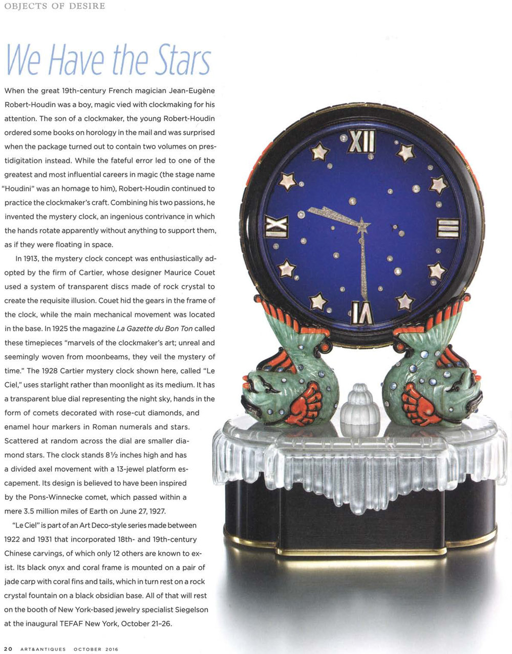 "Featured piece: Art Deco Diamond ""Le Ciel"" Clock by Cartier, Paris, 1928"
