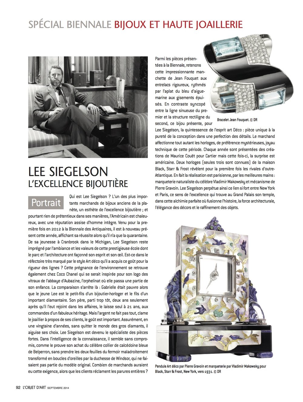 Featured pieces: Art Deco Aquamarine, Diamond, and Enamel Bracelet by Jean Fouquet for Maison Georges Fouquet, Paris, 1926; Art Deco Gem-Set and Mother-of-Pearl Chinoiserie Mystery Clock by Pierre Gravoin, Paris, for Black, Starr & Frost, New York, circa 1930, Mosaic by Vladimir Makovsky