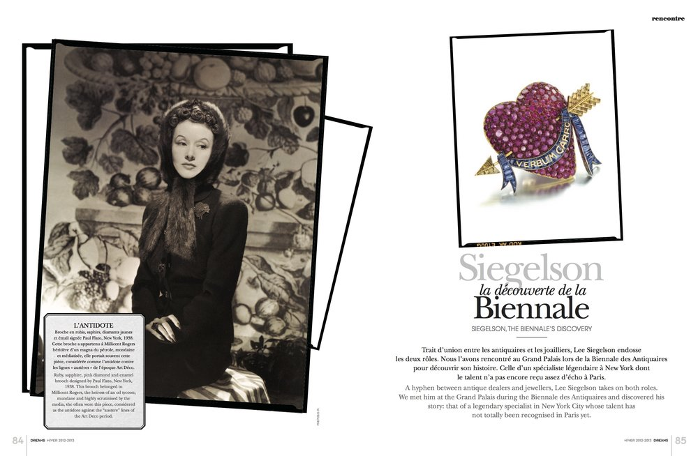 Featured pieces: The Millicent Rogers Heart: A Ruby, Sapphire, Yellow Diamond, and Enamel Brooch by Paul Flato, New York, circa 1938; Belle Epoque Diamond and Rock Crystal Devant de Corsage by Cartier, Paris, 1913; Art Moderne Platinum and Diamond Cuff Bracelet by Jean Fouquet, Paris, 1930; The Duchess of Windsor Suite: An Art Moderne Blue Chalcedony, Sapphire, and Diamond Suite of Jewelry by Suzanne Belperron, Paris, circa 1935; Gold and Plique-à-Jour Enamel Morning Glory Pendant Brooch by Marcus & Co., New York, circa 1900; Rock Crystal and Diamond Scroll Brooch by Suzanne Belperron, Paris, circa 1935; Art Deco Silver, Enamel, and Eggshell Lacquer Cigarette Case by Raymond Templier, Paris, 1928; The Dodge Clock: An Art Deco Citrine, Ebonite, Diamond, and Enamel Mystery Clock by Maurice Coüet for Cartier, Paris, circa 1920