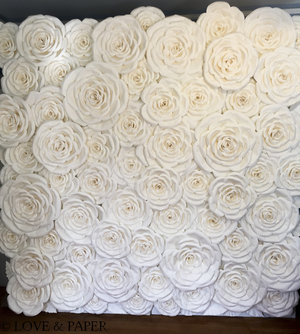 Work love paper the wall is free standing measures 8 feet tall by 8 feet wide and is composed of carefully handcrafted paper roses and leaves in soft white mightylinksfo