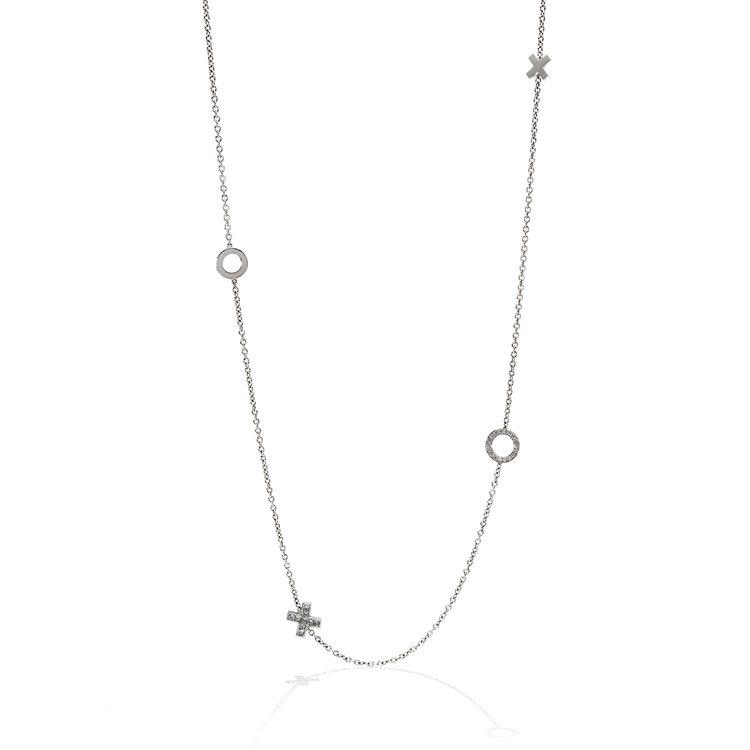 Necklaces hh fine jewellery 18k white gold diamond x o station necklace aloadofball Choice Image