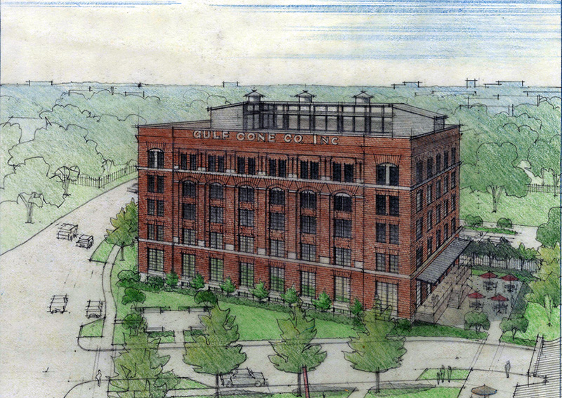 Hughes Brothers Manufacturing/Gulf Cone Building in the Cedars Neighborhood of Dallas. Drawing by Sam Ringman.