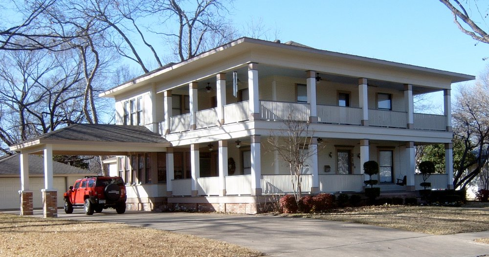 Trull House, Waxahachie, Texas - Reconstruction of large historic porch and porte cochere.