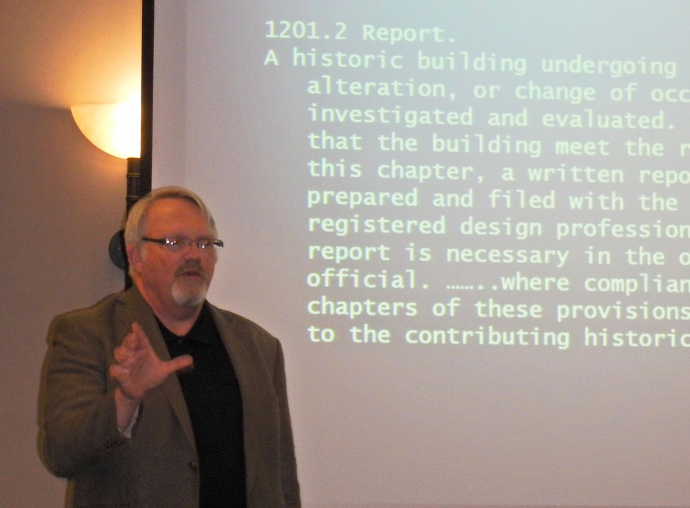 Norman Alston, AIA explaining changes in the State Energy Code requirements at Preservation Texas' recent Preservation Summit in Waco.