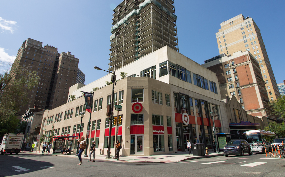 The utilitarian, but elegant Art Deco facade of 1900 Chestnut was retained and a new Target store was inserted behind it, part of the same mixed-use residential project as The Boyd. The building was constructed in 1935 for Raymond Pace Alexander, one of the city's earliest African American lawyers. The building was listed on the Philadelphia Register of Historic Places for its aesthetic contribution to the streetscape. | Photo: Michael Bixler