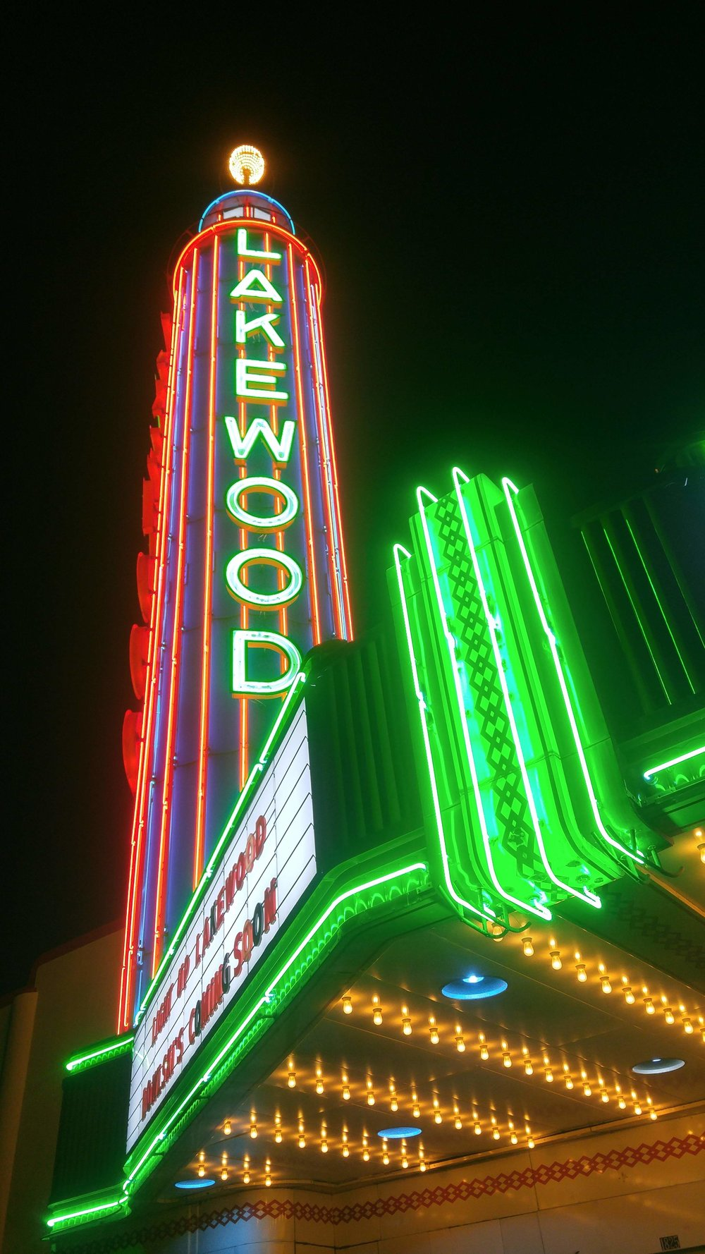 Relighting of the Lakewood Theater neon in December 2018