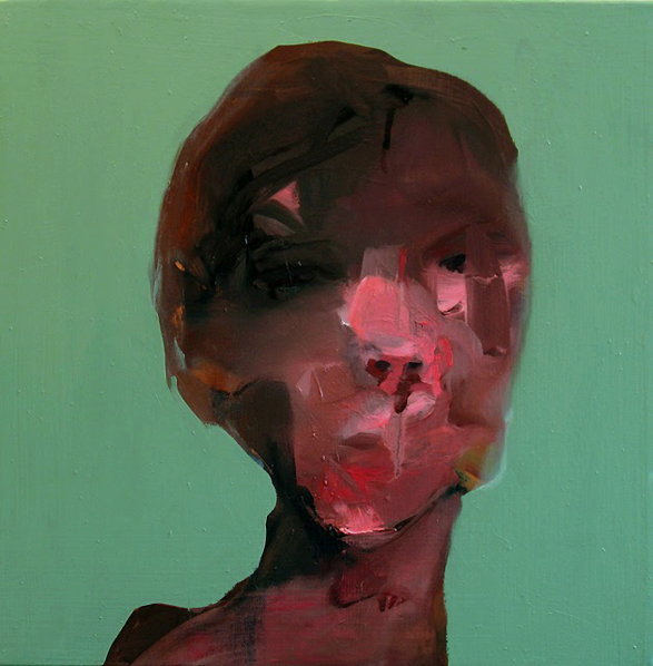 "Nose-Bleeder , 2010, oil on canvas, 14""x 14"""