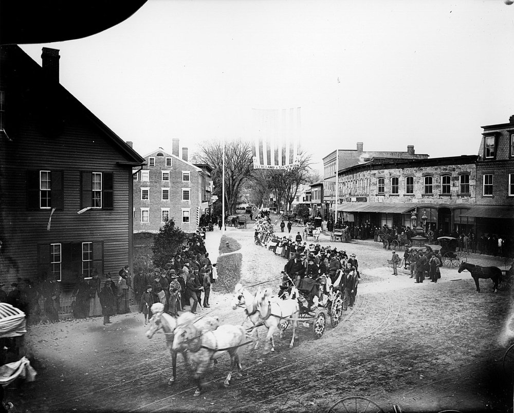 Columbus Day parade on Elm Street, October 21, 1892.