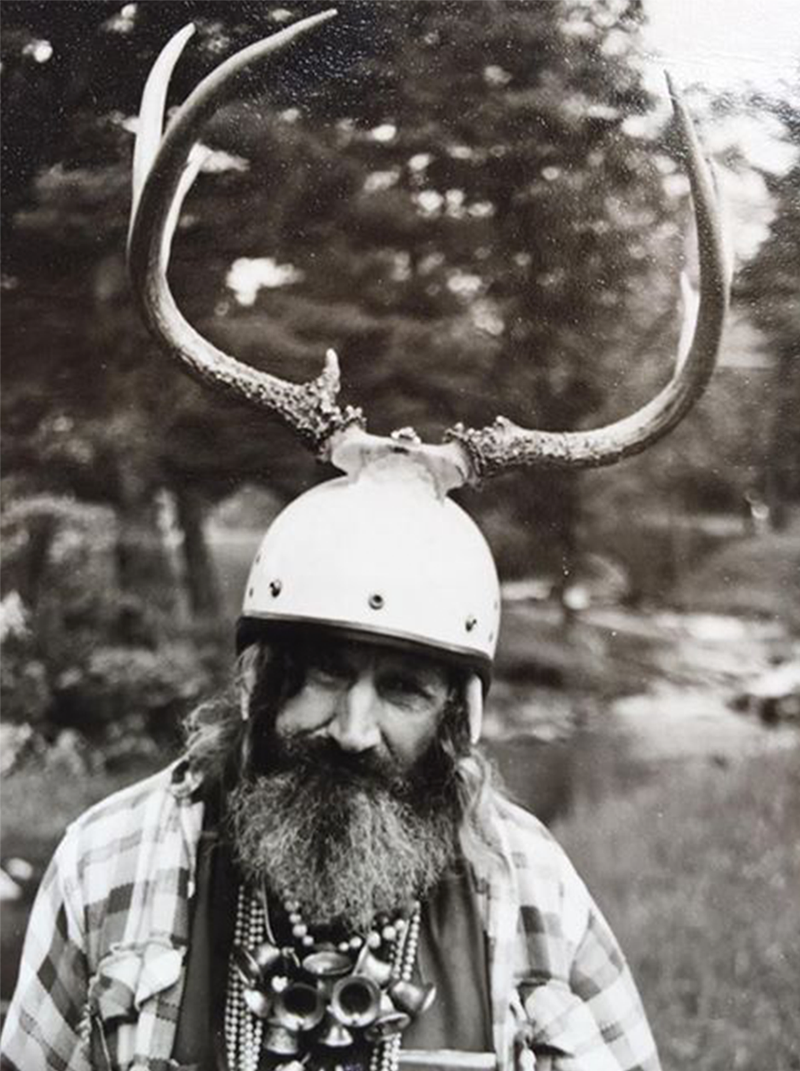 """Vilas and one of his """"horned"""" helmets"""