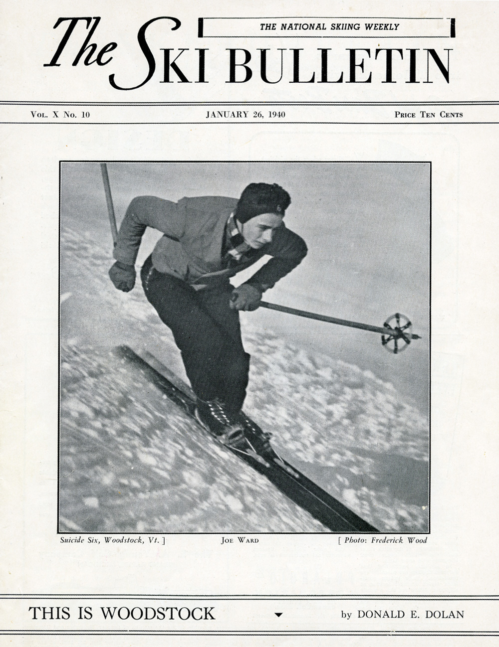 Cover of  The Ski Bulletin  featuring a photo of Joe Ward at Suicide Six
